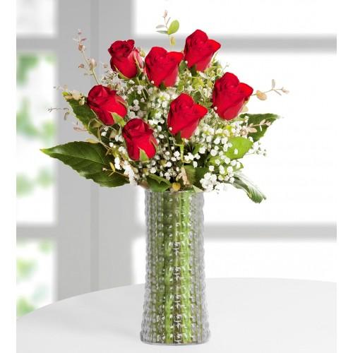 7 Kırmızı Gül Çiçek Aranjmanı