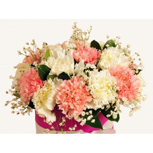 Pembe ve Beyaz Karanfilli Çiçek Arajmanı.